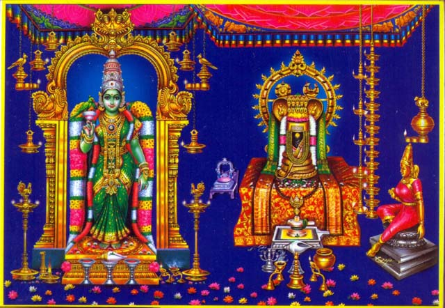 Meenakshi-Amman-and-Lord-Sundareshwar-depicted-in-Painting
