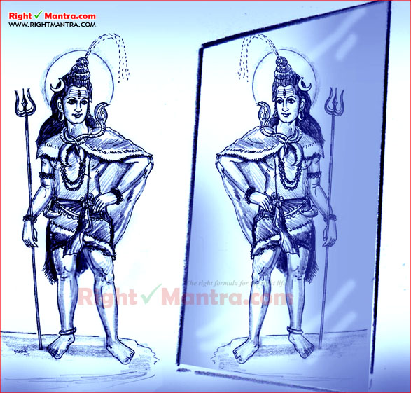 Lord Siva in front of mirror