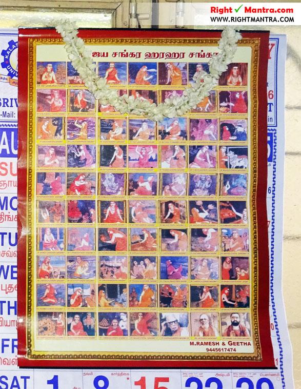 70 Acharyas of Kamakoti Peedam